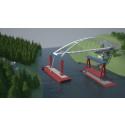Watch the launch of a 140 meter long bridge