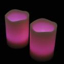 Blockljus med färgval och fjärr 3-pack-frilagd rosa