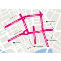 Karta över avstängda gator