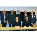 Stående, vänster: Arne Olsson, Lars Benton, Erik Stenberg, Anette Scheibe Lorentzi och Philip von Segebaden. Sittande: Ingela Lindh och Stellan  Lundström. Foto: Maria Hult.