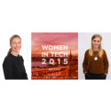 Business power woman Mia Brunell Livfors and YouTube superstar Clara Henry supports Women in Tech 2015
