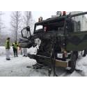 Trafikkulykke med militære kjøretøy ved Øverbygd