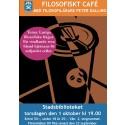 Filosofiskt café på stadsbiblioteket i Ängelholm med filosofilärare Peter Dalling