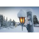 Winter light with snow