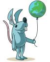 Maskoten Mimus har kul med världskultur