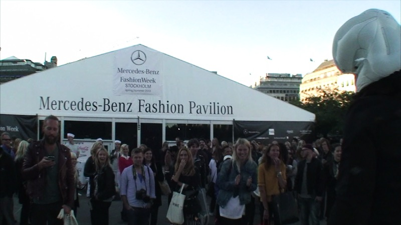 Hövding Guerilla event -- live crash outside Paviljongen, Mercedes-Benz Fashion Week