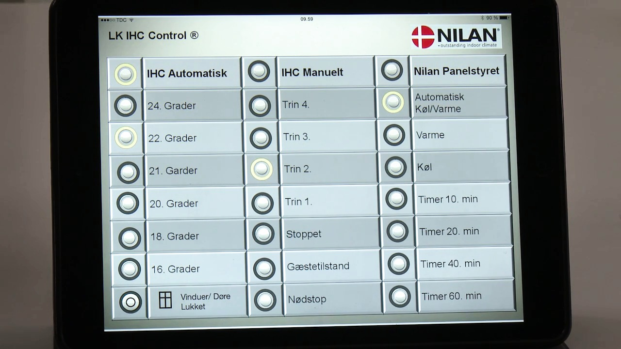 IHC-styring til Nilan-ventilation