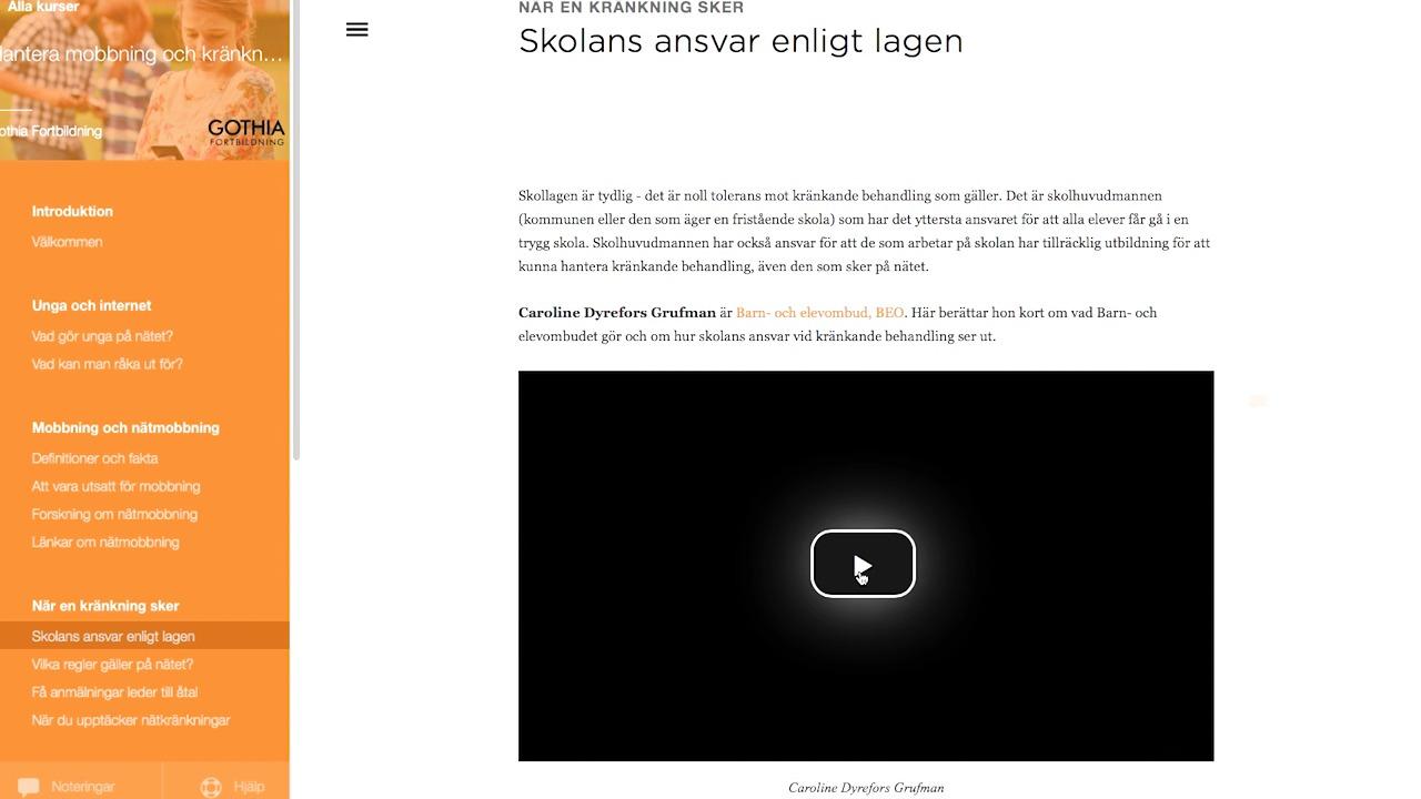 Film om webbkursen Hantera kränkningar och mobbning på nätet