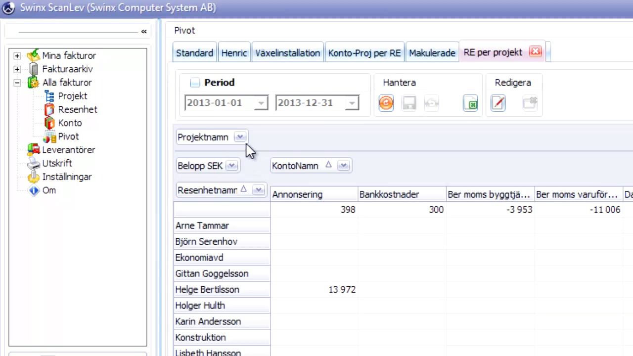 Pivottabeller ger djupgående statistik och överblick i Swinx ScanLev 4.0